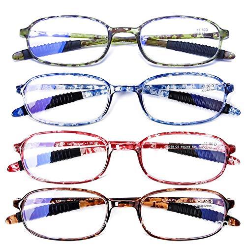 DOOViC Blaulichtfilter Brille mit Sehstärke für Damen/Herren/Computer Schildkröte Flexible Rahmen Eckige Lesebrille 2,0 (4er-Pack)