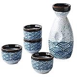 Angoily Juego de Sake Japonés de Cerámica de 5 Piezas Juego de Servicio de Sake Tazas de Sake Set 180Ml 20Ml