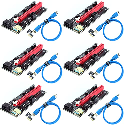 Ziyituod PCIe Riser, VER009S GPU Riser Express Kits 16X a 1X (Dual 6PIN / MOLEX) con extensión de gráficos LED, Gpu Riser Card - Ethereum Mining ETH, 60cm USB 3.0 Cable (6PCS)