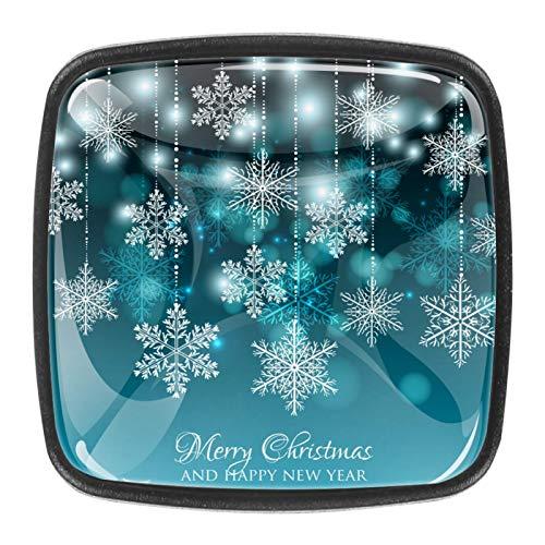 Invitación de Fiesta de Feliz Navidad Pomo,4 Piezas Tiradores de Muebles Perillas de Natural Perillas del Gabinete con Tornillo para Puertas Armarios de Cocina Tirador Cajones