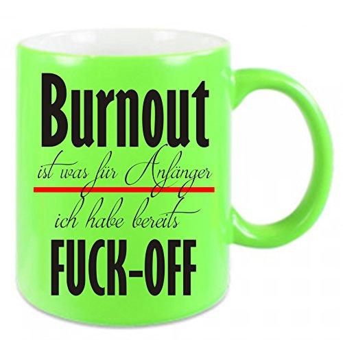 Crealuxe Tasse in Neonfarben Burnout ist was für Anfänger - ich Habe Fuck-Off - Kaffeetasse mit Motiv, Bedruckte Tasse mit Sprüchen oder Bildern (grün)