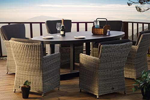 Desser Florence Grey 6 Seater Rattan Garden Furniture with Lavastone Slate Table Top – Six Seat Outdoor Patio Dining Set Ready Assembled – Dallas Cushions