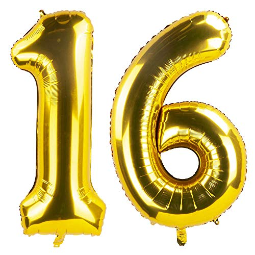 40 Inch Gold 16th Birthday Number Balloons 16 Foil Mylar Balloon for Anniversary Party Decoration