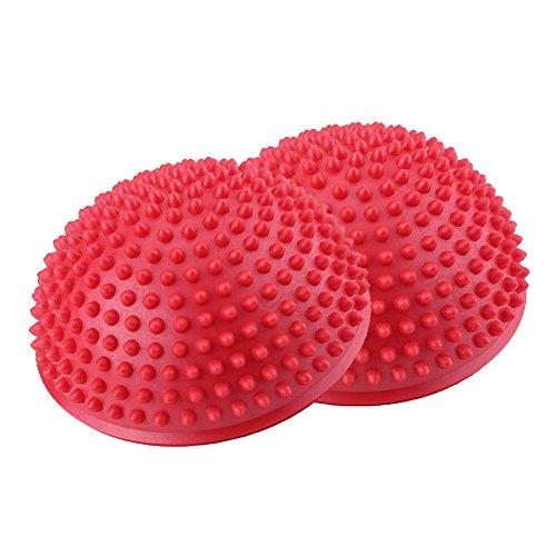 Fußmassageball, PVC aufblasbare halbe Yoga Bälle Massagepunkt Fitball Übungen Trainer Fitness Balance Ball(rot)