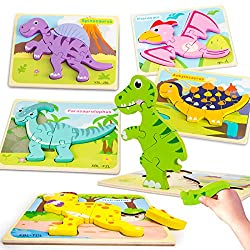 5. Ayeboovi Store Wooden Dinosaur Toddler Puzzles
