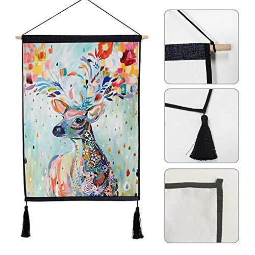 Minimalistische moderne Hintergrund hängen Tuch Elch Muster Baumwolle Leinen Stoff Kunst Stromzähler Box Coverage hängenden Wandteppich Malerei