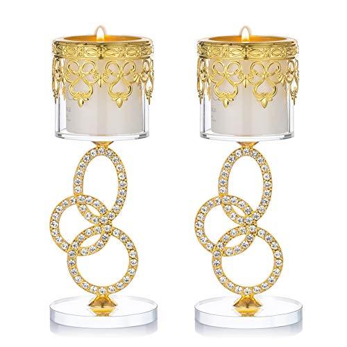 Sziqiqi Candelabros de Cristal y Hierro Dorado de 2 Piezas, con Vástago de 3 Anillos y Tachuelas de Diamantes de Imitación, Vela Votiva en Forma y Candelita, 17,5 cm de Alto