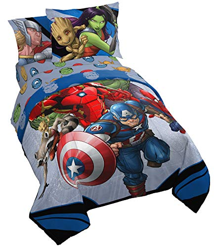 Jay Franco Marvel Avengers Fight Club 5 Piece Twin Bed Set - Includes Reversible Comforter & Sheet Set Bedding - Super Soft Fade Resistant Microfiber (Official Marvel Product)