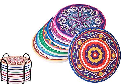 EDATOFLY 8 Pcs Sottobicchieri per Bevande in Ceramica Assorbente, Premium Design sottobicchieri con Supporto in Metallo,Decorativo Sottobicchieri in Ceramica con Base in Sughero per Tazza