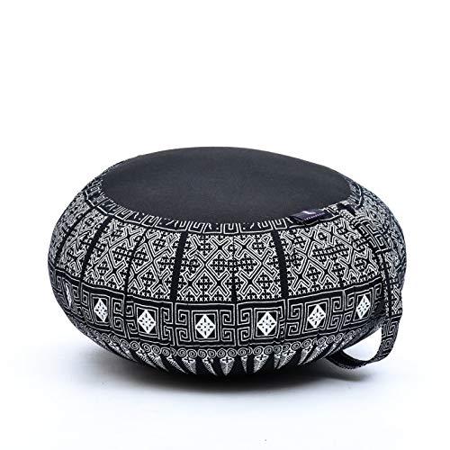 Leewadee cojín de meditación Zafu – Almohada Redonda de Yoga, Asiento tailandés de kapok Natural Hecho a Mano, 40 x 20 cm, Negro