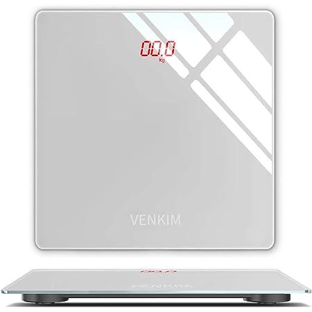 VENKIM 体重計 デジタル 電子スケール ヘルスメーター 乗るだけ 自動電源ON/OFF バックライト付 高精度ボディースケール コンパクト 軽量収納 (電池付属)