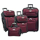 Traveler's Choice Amsterdam 4-Piece Luggage Set, Burgundy (red) - TS-6950-RED