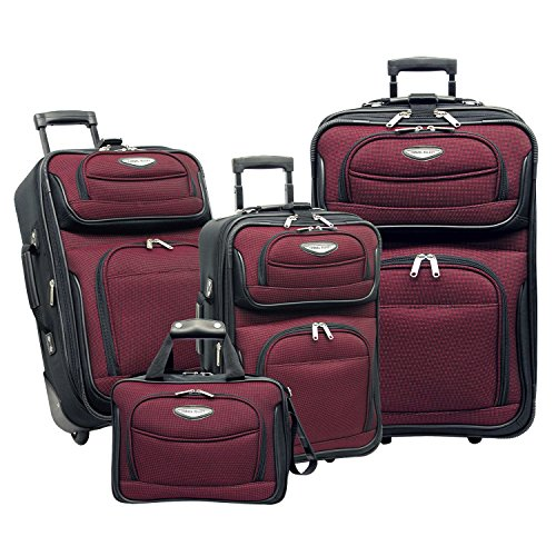 Travel Select Amsterdam Expandable Rolling Upright Luggage Set 4-Piece, Burgundy
