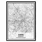 Kassel Deutschland Karte Wandkunst Leinwand drucken Poster