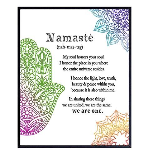 Zen Decor, Namaste Wall Decor, Buddha Wall Art - 8x10 Poster Print for Yoga Meditation Room, Spa Decoration - Spiritual Buddhist Gift With Hamsa Hand of Fatima, Mandala, Lotus