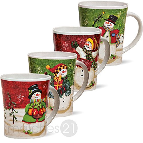 matches21 Weihnachtstassen Tassen Becher Schneemann 1 Stk. B-WARE ** PREISKRACHER ** je 11cm / 450ml Keramik Glühweintassen