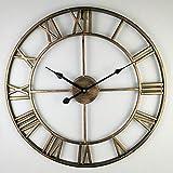 NA Reloj de Pared 40-80Cm Nordic Retro Metal Hierro Forjado Reloj Romano Reloj De Pared Diseño Moderno Salón Café Tranquilo Decorativo Reloj De Cuarzo 47
