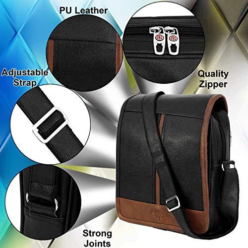 Storite Stylish PU Leather Sling Cross Body Travel Office Business Messenger One Side Shoulder Bag for Men Women (30x24x5.5 cm) (Black/Brown)