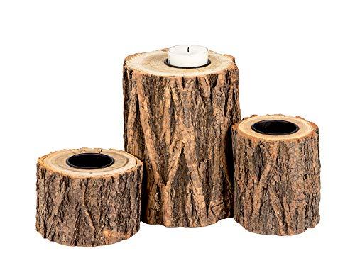 3X Kerzenständer Baumstamm-Design - Für Teelichter, Stumpenkerzen und DIY-Ideen - Landhaus-Deko - Rustikale Herbst-Deko aus Holz - Teelichthalter Industrial Look - Dekosäule Set