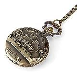 Gran Oferta, Gran Reloj de Bolsillo Retro de la Gran Muralla de China, Reloj de Bolsillo Wanli Great Wall con Collar de Bronce