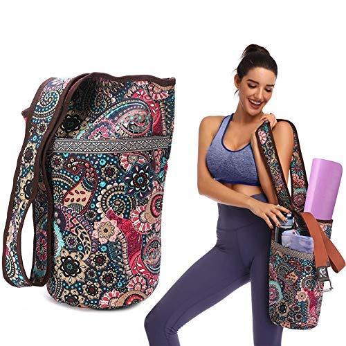 Stronrive Bolsas Esterilla Yoga para Mujeres, Bolsa para Colchoneta Yoga para Tapete Gran Tamaño, Estilo Bohemio, Dos Bolsillos 35