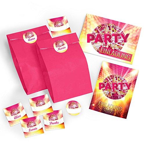 6 Einladungskarten incl. 6 Umschläge und 6 Party-Tüten mit 6 Aufklebern zum Geburtstag / Einladungen / Kindergeburtstag / Erwachsene / Disco-Kugel / Pink / Disco-Party / Einladungen zum Geburtstag