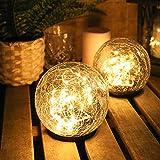 Viitech Solar Laternen, Outdoor Rasen Lampe Gartenleuchten Solarlampe Pfostenleuchte Outdoor Deko Rissglas Kugel Wasserdicht Smart Lichtgesteuert, 12cm