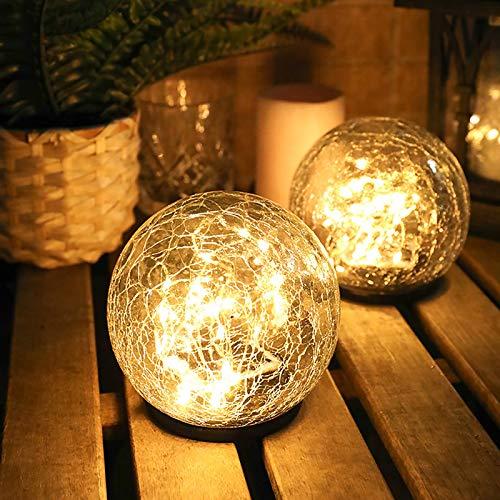 LTXDJ - Lámpara solar LED para césped, lámpara de crack de cristal, decoración de jardín, IP65, impermeable, automática, encendido/apagado, para jardín, patio, entrada, césped, valla, blanco cálido