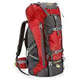 Hiking Backpack 60L Lightweight Water Reasistant Trekking Bag Durable Outdoor Sport Daypack for Climbing Travel Cycling (Red)