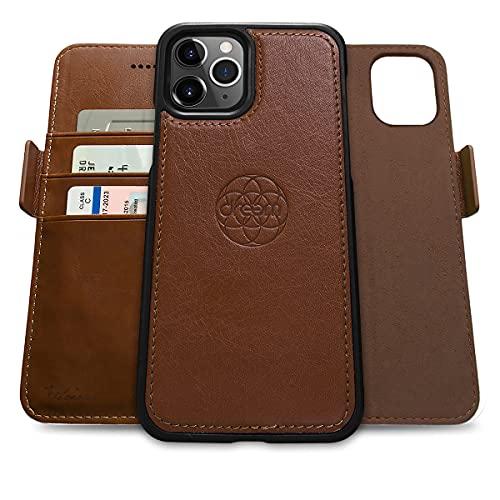 Dreem Fibonacci 2in1 Custodia Portafoglio in Pelle per iPhone 12 Pro Max | Cover iPhone Magnetica Antiurto TPU Sottile | Protezione RFID | 2 Posizioni | Confezione Regalo – Cioccolato