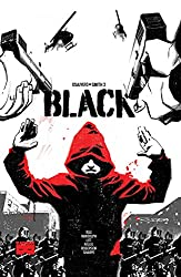 BLACK book cover, with a young Black man wearing a red hoodie, holding his hands up,  with guns pointed at him