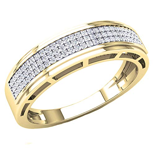 Dazzlingrock Collection 0.25 Carat (ctw) Round White Diamond Men's Hip Hop Anniversary Wedding Band 1/4 CT, 10K Yellow Gold, Size 10