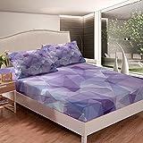 Juego de sábanas geométricas para niñas y niños, patrones de polígono, juego de sábanas decorativas de colores vibrantes en zigzag ornamento sábana bajera abstracta cama tamaño King 3 piezas