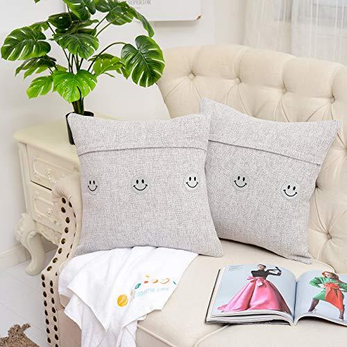 Knlpruhk Funda de cojín cuadrada de chenilla de alta calidad, para decoración del hogar, sofá, silla, dormitorio, 45 x 45 cm, color gris, juego de 2