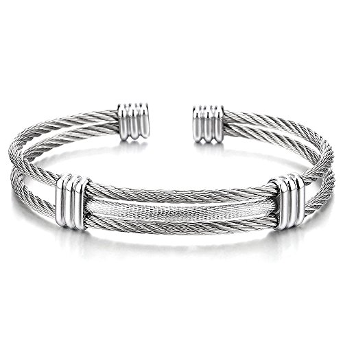 COOLSTEELANDBEYOND Edelstahl Elastische Herren Damen Armband Verstellbare Stahlkabel Armreif Farbe Silber