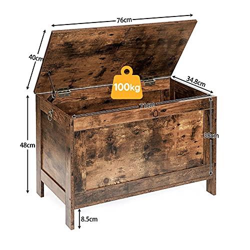 HOOBRO Spielzeugkiste, Sitzbank mit großer Stauraum, Vintage Schuhbank, Betttruhe, Flur, Schlafzimmer, Wohnzimmer, Holz, einfach zu montieren, Dunkelbraun EBF75CW01 - 5