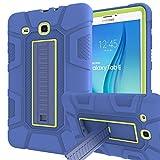 Samsung Galaxy Tab E 9.6 Case, Sanhezhong Three Layer Hybrid Rugged Heavy Duty Shockproof Anti-Slip Case Full Body Protection Cover for Tab E Nook 9.6 inch(SM-T560) Blue/Green