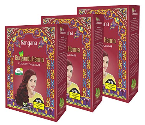 Kangana Burgundy Henna Powder for 100% Grey Coverage - Natural Henna Powder for Hair Dye/Color- 5 Pouches Each- Total 150g (5.29 Oz) - Pack of 3