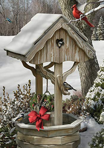 Briarwood Lane Winter Wishes Well Garden Flag Cardinal Snowy Scene 12.5' x 18'