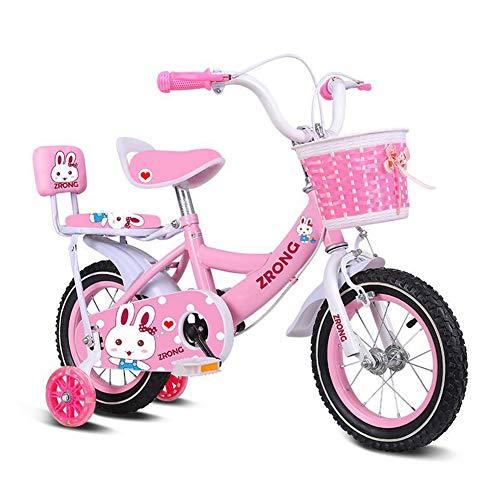 Wisess 2~9 Anni Bici per Bambini, Viola Bicicletta per Bambini, Principessa Bicicletta A Pedale Esercizio al Coperto con Ruote di Allenamento, Telaio in Acciaio Ad Alto Tenore di Carbonio,Rosa,16inch