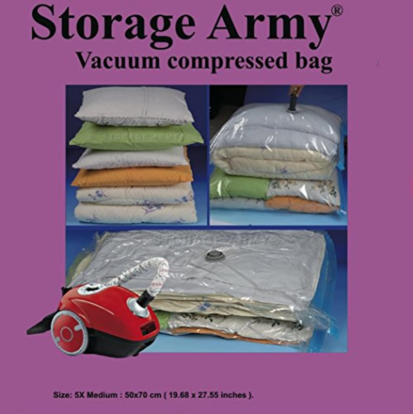 Storage Army [Pack of 5 Medium Storage Bags Sealed Compressed Vacuum Bag Save Storage Space Home Organizer & Travel Storage Saver Bags Protection Against Water | Odor | Mildew | Dust | Dirt | Insects