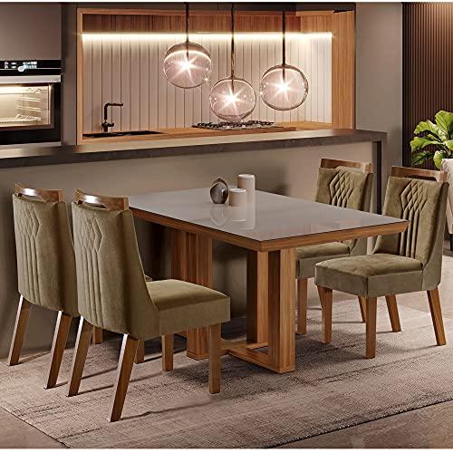 Conjunto Sala de Jantar Mesa Lottus Tampo MDF e Vidro e 4 Cadeiras Dallas