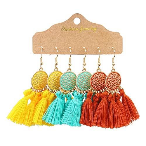 Pendientes Vintage Big Redondo Multicolor Pendientes con Cuentas Set de Mujer étnico Boho Tassel Pluma Larga Dreamcatcher Drop Pendientes Joyería (Color : 21020 1)