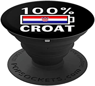Croatia Flag Design | 100% Croat Battery Power Tee - PopSockets Grip and Stand for Phones and Tablets