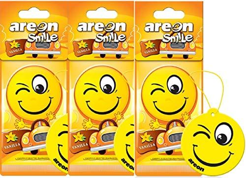 AREON Smiley Désodorisant Voiture Vanille Rétroviseur Drôle Fun Rigolo Suspendu Jaune Maison (Vanilla Lot de 3)