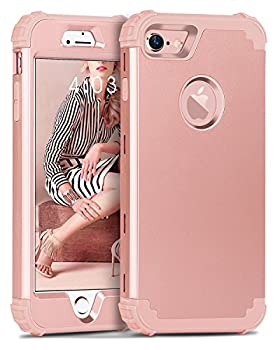 iPhone 8 Case iPhone 7 Case BENTOBEN 3 in 1 Hybrid Hard PC Cover & Soft Silicone Bumper Heavy Duty Slim Shockproof Full Body Rugged Protective Phone Case for iPhone 7 & iPhone 8  4.7Inch  Rose Gold