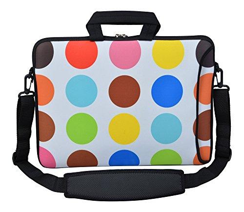 MySleeveDesign Laptoptasche Notebooktasche Umhängetasche Größe 15,6 Zoll & 17,3 Zoll - mit VERSCH. Designs - Colored Points [17]
