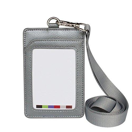 Wonque - Tarjetero de piel sintética con cordón para el cuello desmontable para tarjetas de identificación de trabajadores, 1 unidad, color gris 11.2 * 7.CM