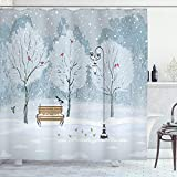 Ambesonne Christmas Shower Curtain, Snow Falling in The Park on a Cold Winter Day Birds Lanterns Xmas Season Picture, Cloth Fabric Bathroom Decor Set with Hooks, 70' Long, Blue White