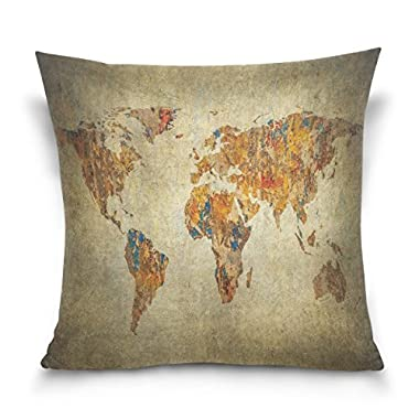 ALAZA Wanderlust World Map Cotton Pillowcase 18 X 18 Inches Twin Sides, Vintage Globe World Map Pillow Case Sham Cover Protector Decorative for Home Hotel Couch Ded